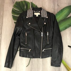 Michael Kors Studded Faux-Leather Jacket✨Brand New
